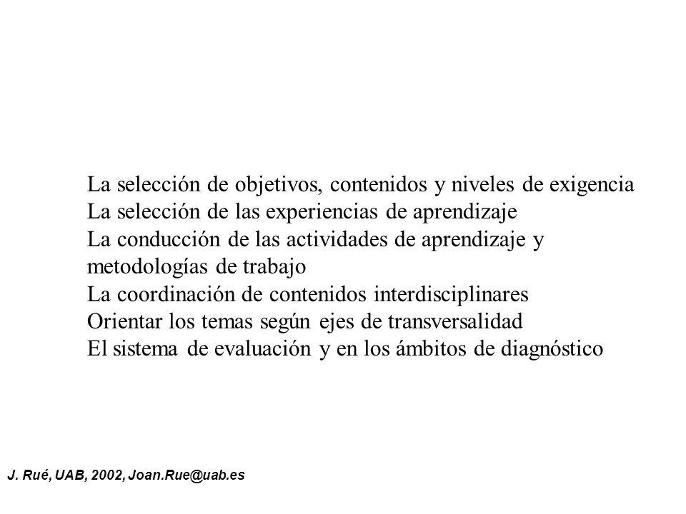 J. Rué, UAB, 2002, Joan.Rue@uab.es La selección de objetivos, contenidos y niveles de exigencia La selección de las experiencias de aprendizaje La con
