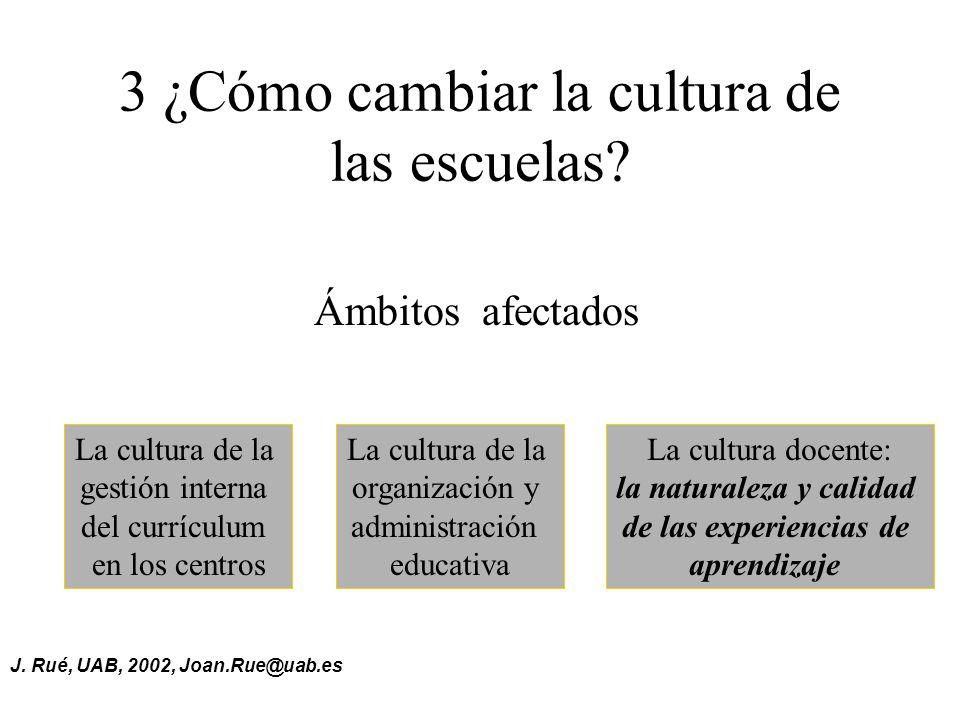 J.Rué, UAB, 2002, Joan.Rue@uab.es 3 ¿Cómo cambiar la cultura de las escuelas.