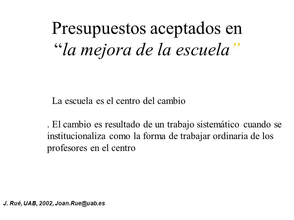 J.Rué, UAB, 2002, Joan.Rue@uab.es Presupuestos aceptados enla mejora de la escuela.