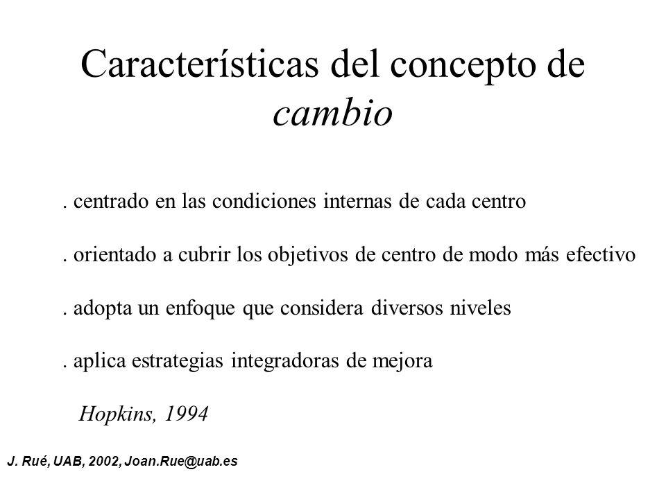 J.Rué, UAB, 2002, Joan.Rue@uab.es Características del concepto de cambio.