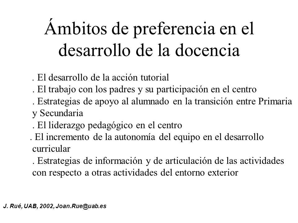 J.Rué, UAB, 2002, Joan.Rue@uab.es Ámbitos de preferencia en el desarrollo de la docencia.