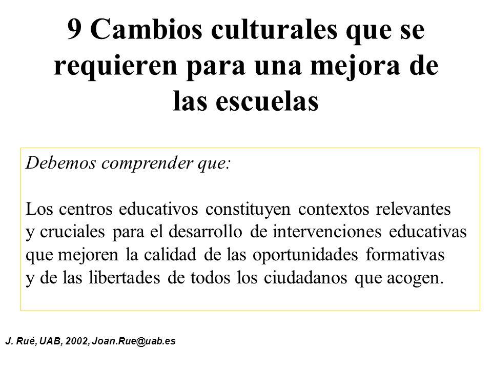 J. Rué, UAB, 2002, Joan.Rue@uab.es 9 Cambios culturales que se requieren para una mejora de las escuelas Debemos comprender que: Los centros educativo