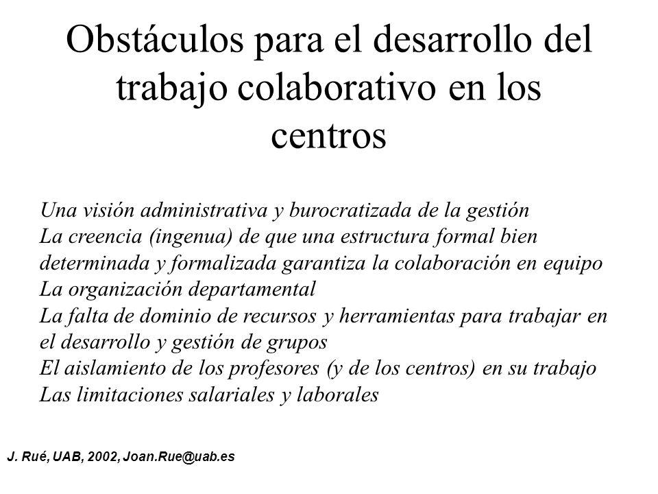 J. Rué, UAB, 2002, Joan.Rue@uab.es Obstáculos para el desarrollo del trabajo colaborativo en los centros Una visión administrativa y burocratizada de