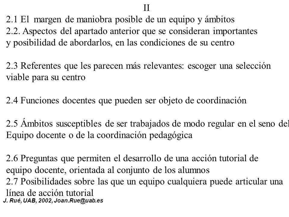 J.Rué, UAB, 2002, Joan.Rue@uab.es II 2.1 El margen de maniobra posible de un equipo y ámbitos 2.2.