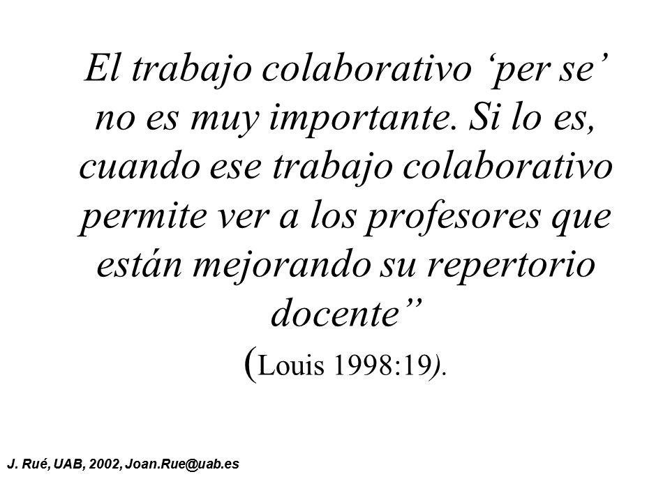 J.Rué, UAB, 2002, Joan.Rue@uab.es El trabajo colaborativo per se no es muy importante.