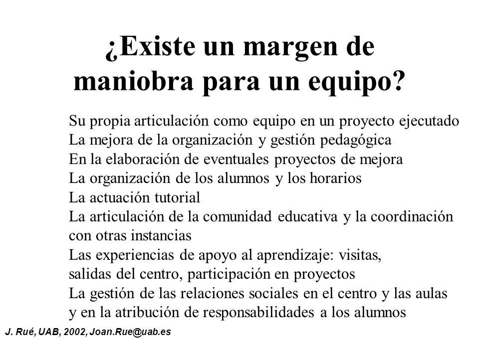J.Rué, UAB, 2002, Joan.Rue@uab.es ¿Existe un margen de maniobra para un equipo.