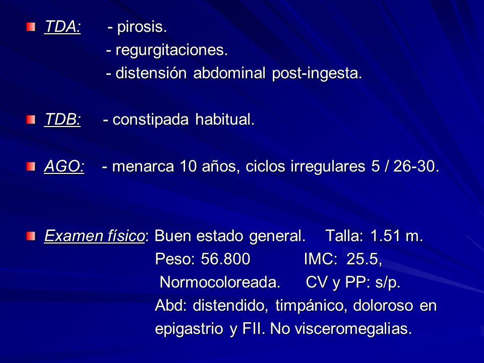 TDA: - pirosis. - regurgitaciones. - regurgitaciones. - distensión abdominal post-ingesta. - distensión abdominal post-ingesta. TDB: - constipada habi