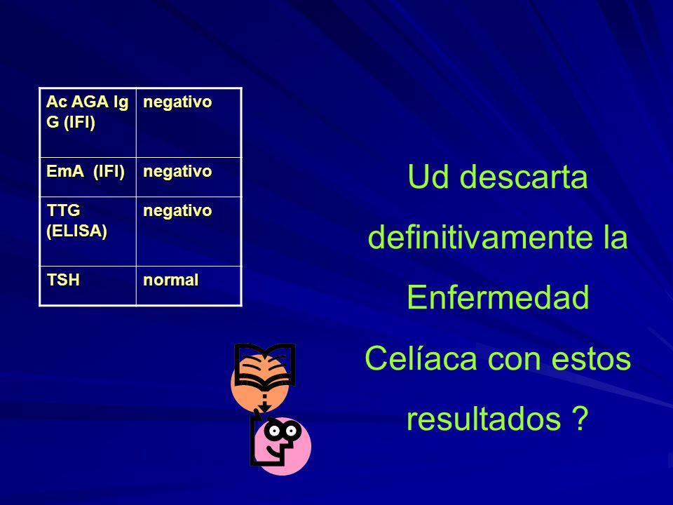 Ac AGA Ig G (IFI) negativo EmA (IFI) negativo TTG (ELISA) negativo TSHnormal Ud descarta definitivamente la Enfermedad Celíaca con estos resultados ?