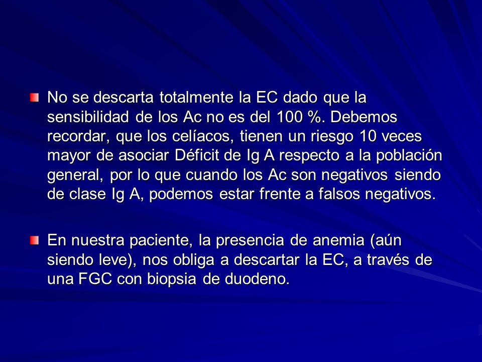 No se descarta totalmente la EC dado que la sensibilidad de los Ac no es del 100 %. Debemos recordar, que los celíacos, tienen un riesgo 10 veces mayo