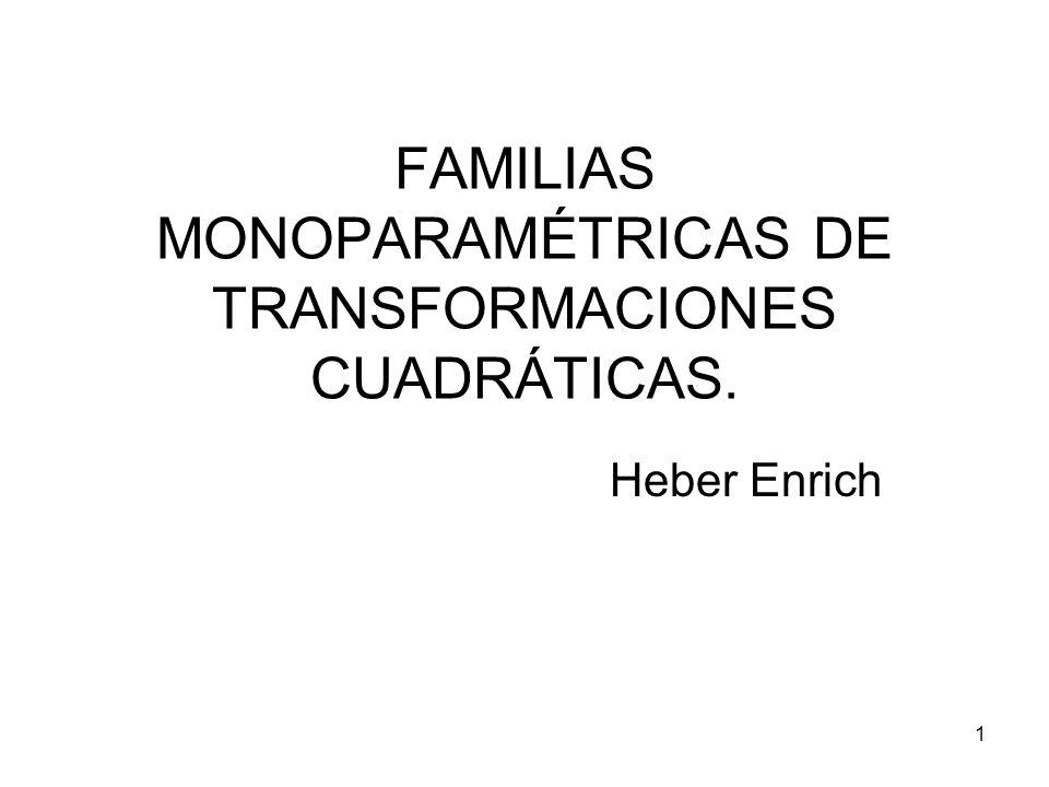 1 FAMILIAS MONOPARAMÉTRICAS DE TRANSFORMACIONES CUADRÁTICAS. Heber Enrich