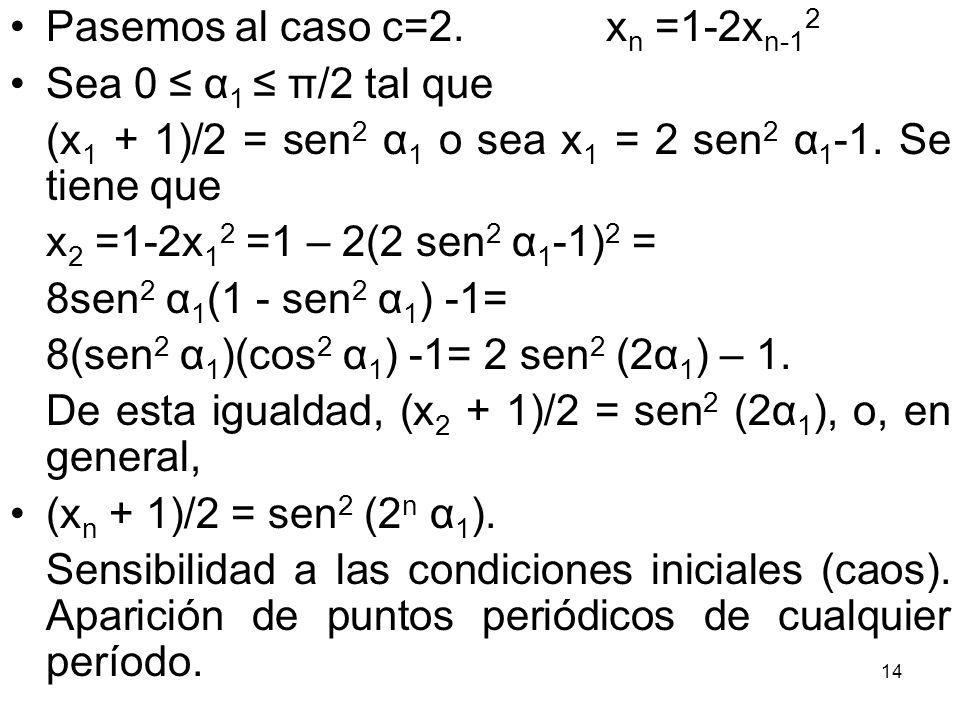 14 Pasemos al caso c=2. x n =1-2x n-1 2 Sea 0 α 1 π/2 tal que (x 1 + 1)/2 = sen 2 α 1 o sea x 1 = 2 sen 2 α 1 -1. Se tiene que x 2 =1-2x 1 2 =1 – 2(2
