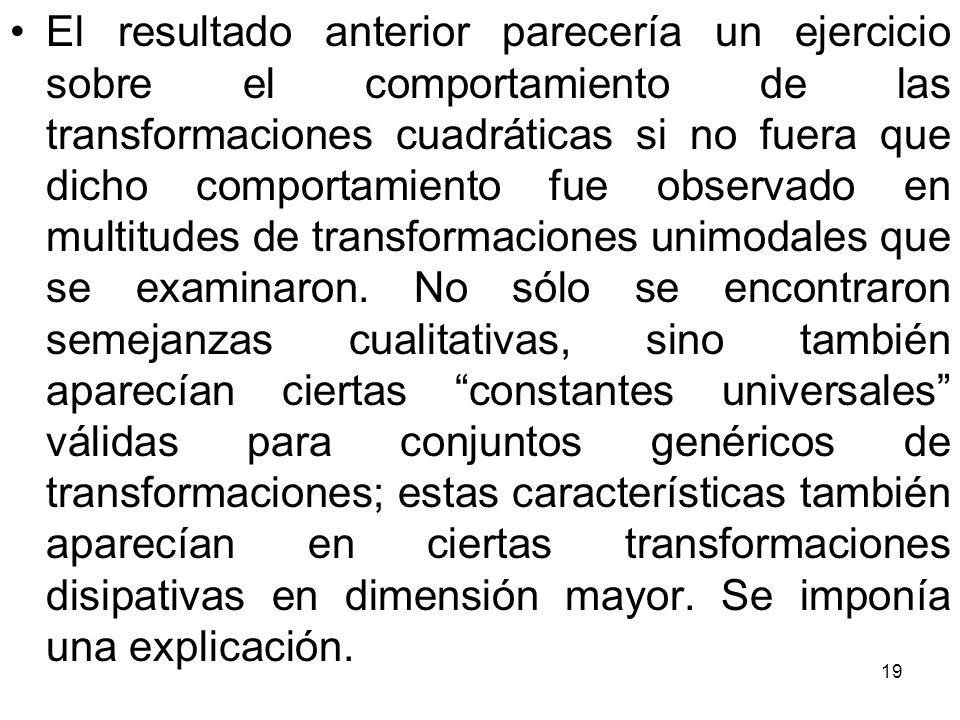 19 El resultado anterior parecería un ejercicio sobre el comportamiento de las transformaciones cuadráticas si no fuera que dicho comportamiento fue o