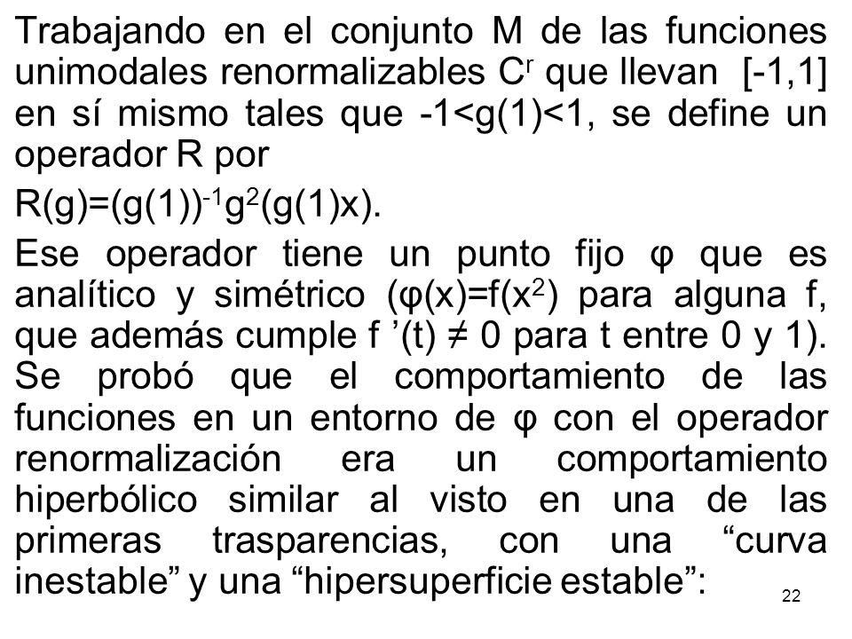 22 Trabajando en el conjunto M de las funciones unimodales renormalizables C r que llevan [-1,1] en sí mismo tales que -1<g(1)<1, se define un operado