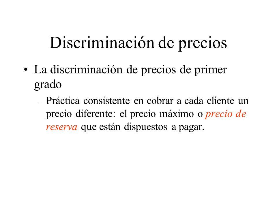 Discriminación de precios La discriminación de precios de primer grado – Práctica consistente en cobrar a cada cliente un precio diferente: el precio