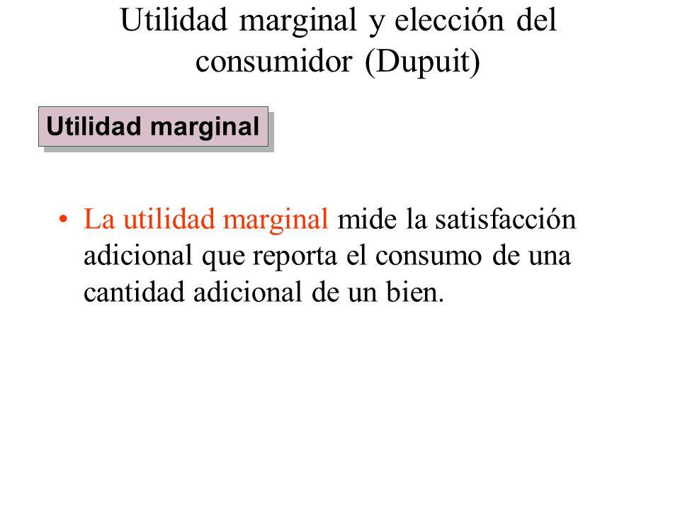 La utilidad marginal mide la satisfacción adicional que reporta el consumo de una cantidad adicional de un bien. Utilidad marginal y elección del cons