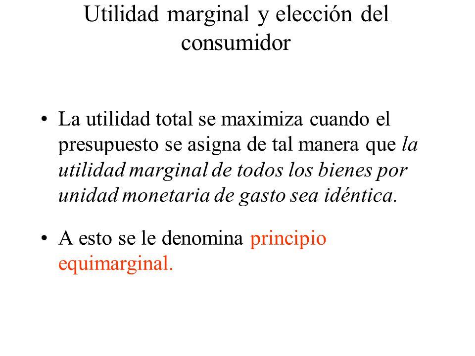 La utilidad total se maximiza cuando el presupuesto se asigna de tal manera que la utilidad marginal de todos los bienes por unidad monetaria de gasto