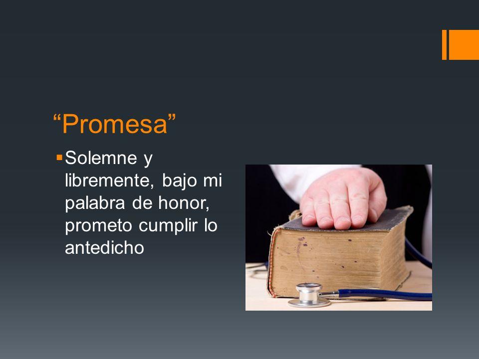 Promesa Solemne y libremente, bajo mi palabra de honor, prometo cumplir lo antedicho
