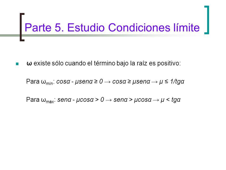 Parte 5. Estudio Condiciones límite ω existe sólo cuando el término bajo la raíz es positivo: Para ω mín : cosα - μsenα 0 cosα μsenα μ 1/tgα Para ω má
