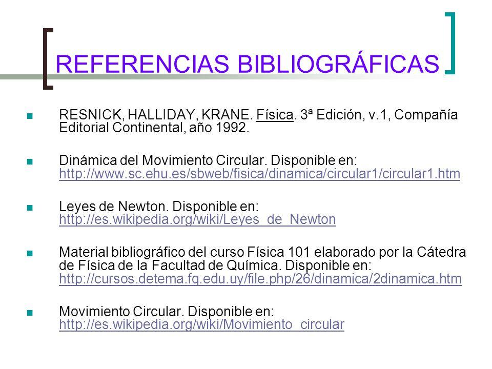 REFERENCIAS BIBLIOGRÁFICAS RESNICK, HALLIDAY, KRANE.