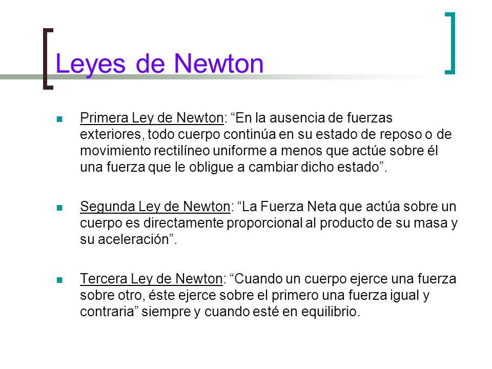 Leyes de Newton Primera Ley de Newton: En la ausencia de fuerzas exteriores, todo cuerpo continúa en su estado de reposo o de movimiento rectilíneo uniforme a menos que actúe sobre él una fuerza que le obligue a cambiar dicho estado.