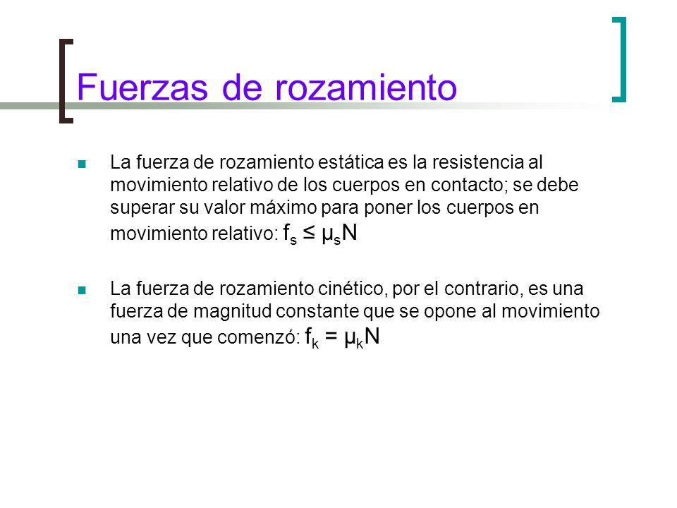 Fuerzas de rozamiento La fuerza de rozamiento estática es la resistencia al movimiento relativo de los cuerpos en contacto; se debe superar su valor máximo para poner los cuerpos en movimiento relativo: f s μ s N La fuerza de rozamiento cinético, por el contrario, es una fuerza de magnitud constante que se opone al movimiento una vez que comenzó: f k = μ k N