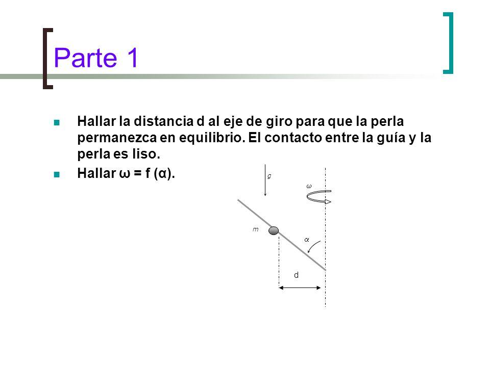 Parte 1 Hallar la distancia d al eje de giro para que la perla permanezca en equilibrio. El contacto entre la guía y la perla es liso. Hallar ω = f (α