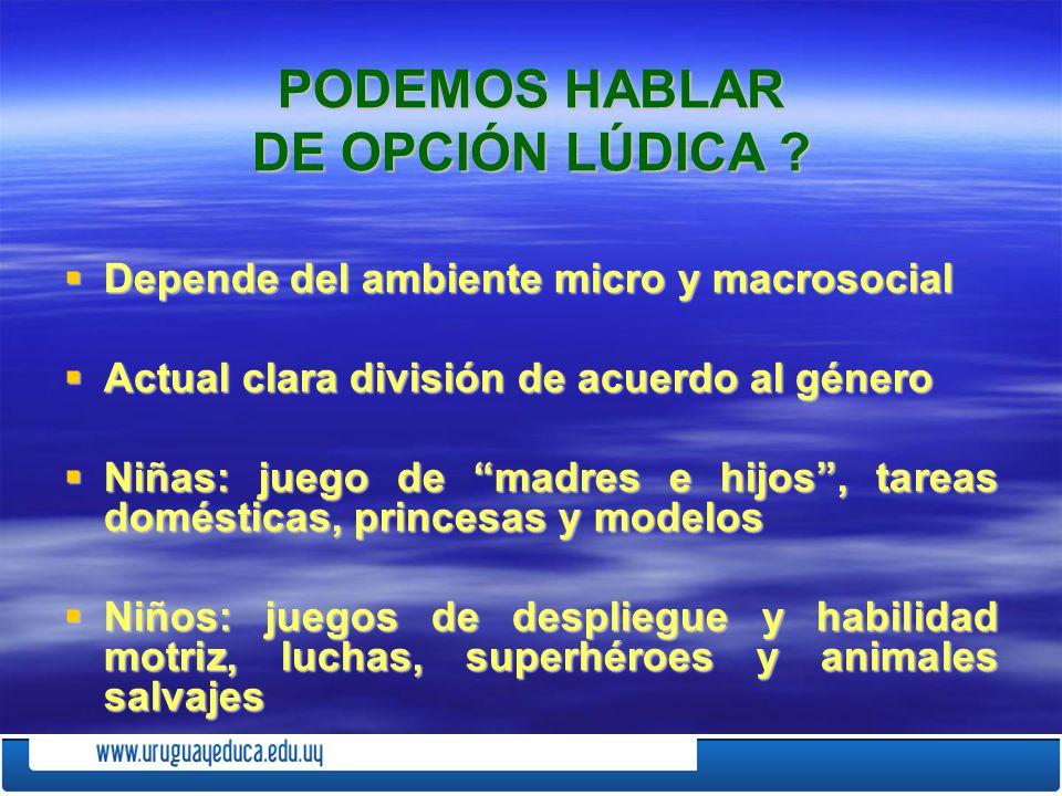 PODEMOS HABLAR DE OPCIÓN LÚDICA ? Depende del ambiente micro y macrosocial Depende del ambiente micro y macrosocial Actual clara división de acuerdo a