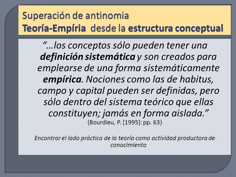 …los conceptos sólo pueden tener una definición sistemática y son creados para emplearse de una forma sistemáticamente empírica. Nociones como las de