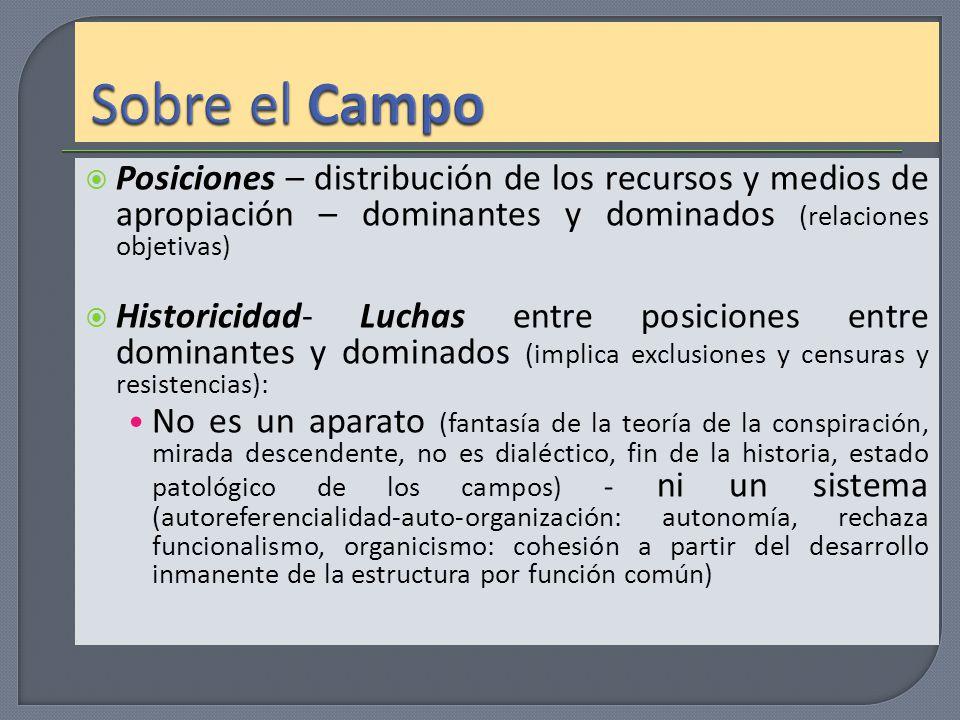 Posiciones – distribución de los recursos y medios de apropiación – dominantes y dominados (relaciones objetivas) Historicidad- Luchas entre posicione