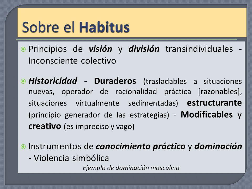 Principios de visión y división transindividuales - Inconsciente colectivo Historicidad - Duraderos (trasladables a situaciones nuevas, operador de ra