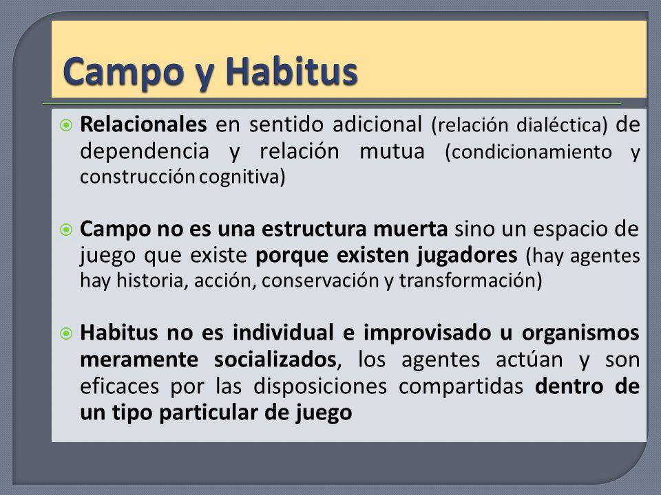Relacionales en sentido adicional (relación dialéctica) de dependencia y relación mutua (condicionamiento y construcción cognitiva) Campo no es una es