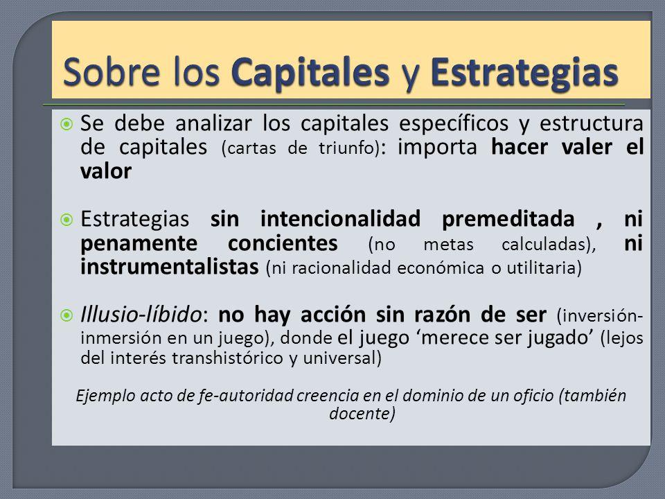 Se debe analizar los capitales específicos y estructura de capitales (cartas de triunfo) : importa hacer valer el valor Estrategias sin intencionalida