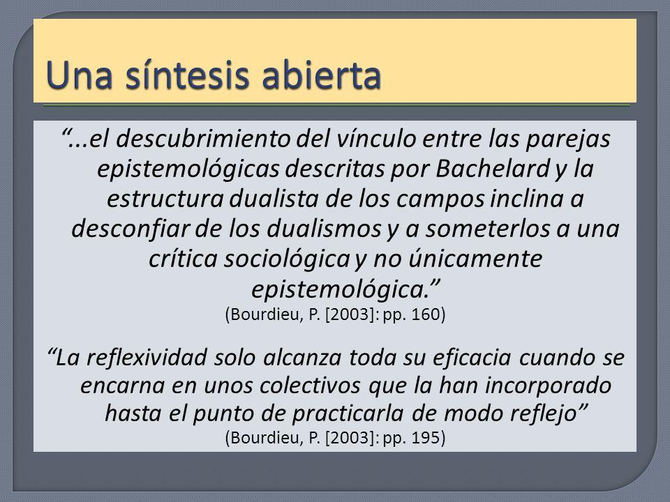 ...el descubrimiento del vínculo entre las parejas epistemológicas descritas por Bachelard y la estructura dualista de los campos inclina a desconfiar
