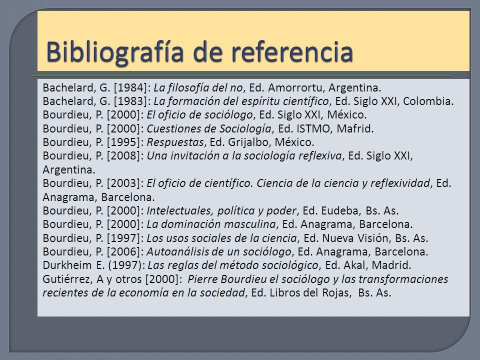Bachelard, G. [1984]: La filosofía del no, Ed. Amorrortu, Argentina. Bachelard, G. [1983]: La formación del espíritu científico, Ed. Siglo XXI, Colomb
