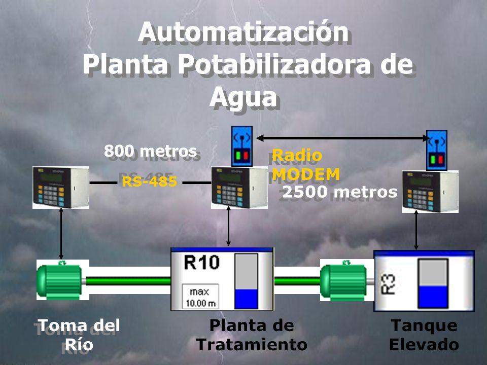 Automatización Planta Potabilizadora de Agua Tanque Elevado Toma del Río Planta de Tratamiento RS-485 Radio MODEM 800 metros 2500 metros