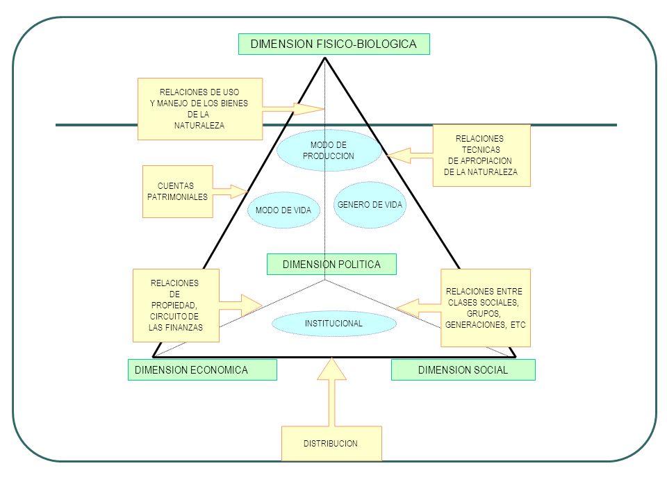DIMENSION FISICO-BIOLOGICA DIMENSION SOCIALDIMENSION ECONOMICA DIMENSION POLITICA MODO DE PRODUCCION MODO DE VIDA GENERO DE VIDA INSTITUCIONAL DISTRIB
