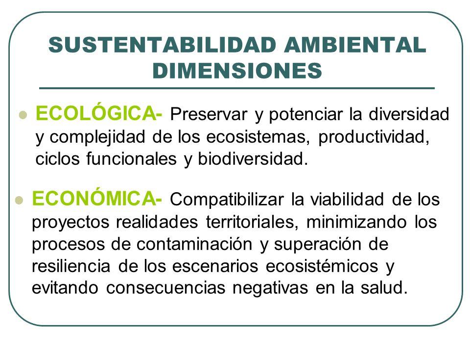 SUSTENTABILIDAD AMBIENTAL DIMENSIONES ECOLÓGICA- Preservar y potenciar la diversidad y complejidad de los ecosistemas, productividad, ciclos funcional
