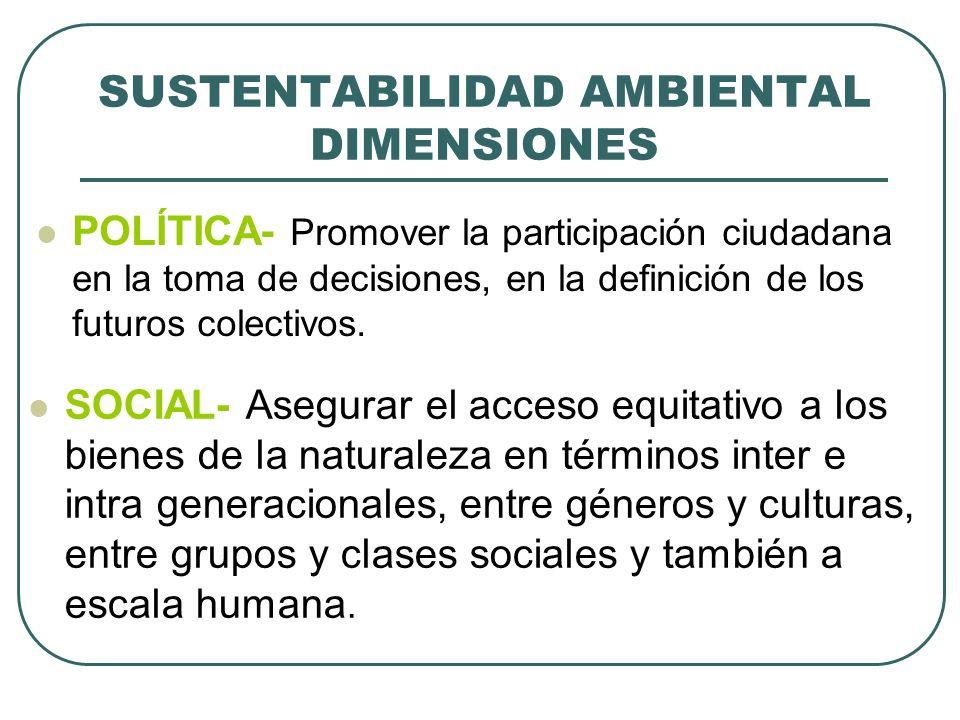 SUSTENTABILIDAD AMBIENTAL DIMENSIONES POLÍTICA- Promover la participación ciudadana en la toma de decisiones, en la definición de los futuros colectiv