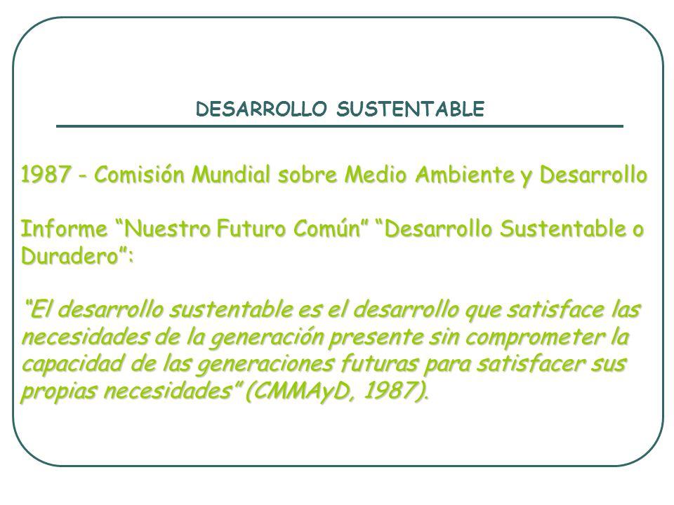 DESARROLLO SUSTENTABLE 1987 - Comisión Mundial sobre Medio Ambiente y Desarrollo Informe Nuestro Futuro Común Desarrollo Sustentable o Duradero: El de