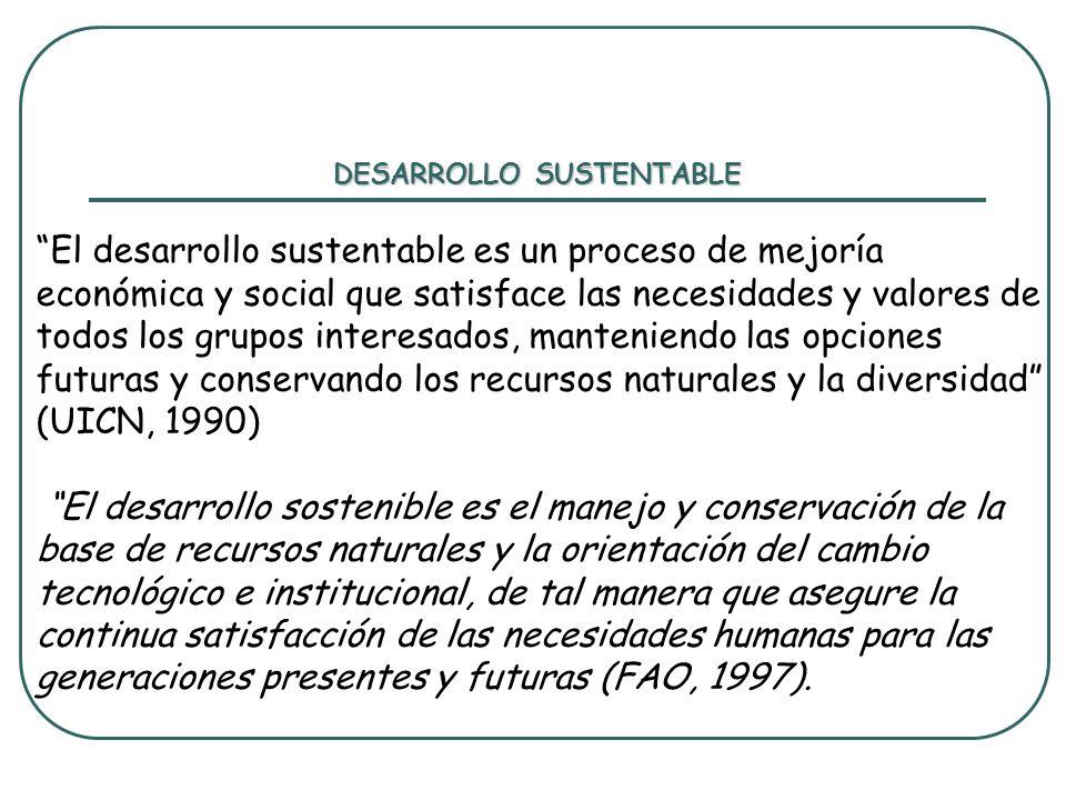 DESARROLLO SUSTENTABLE El desarrollo sustentable es un proceso de mejoría económica y social que satisface las necesidades y valores de todos los grup