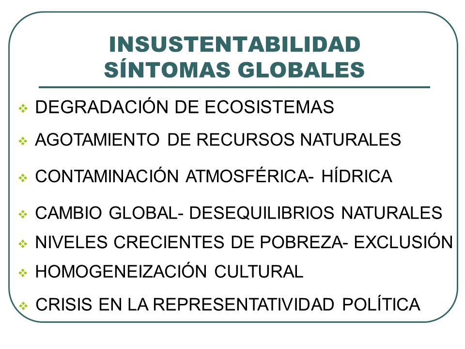 INSUSTENTABILIDAD SÍNTOMAS GLOBALES DEGRADACIÓN DE ECOSISTEMAS AGOTAMIENTO DE RECURSOS NATURALES CONTAMINACIÓN ATMOSFÉRICA- HÍDRICA CAMBIO GLOBAL- DES