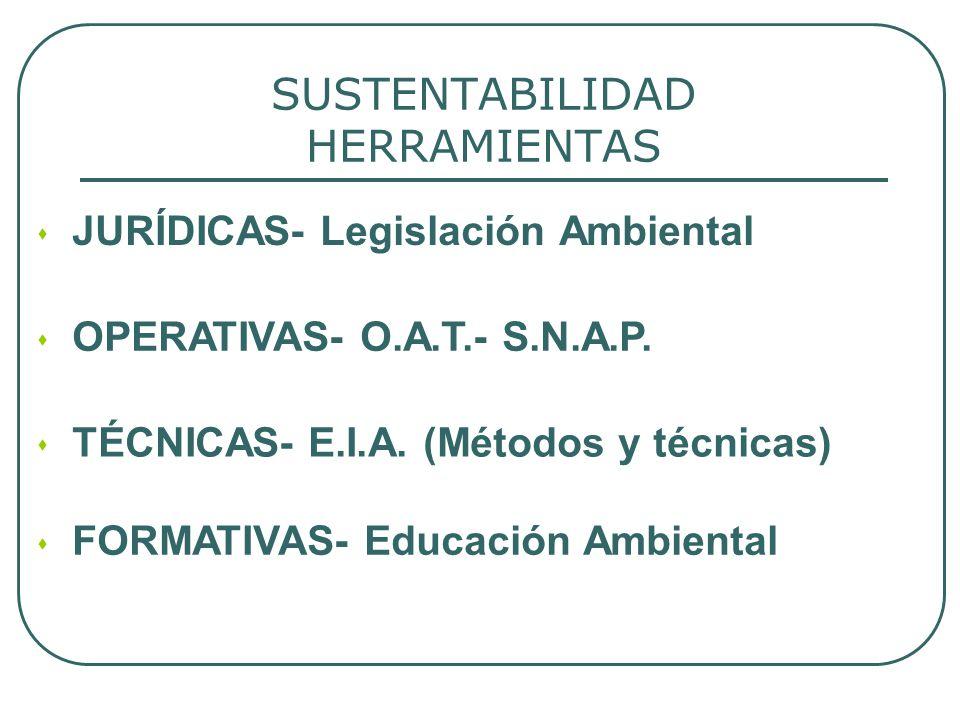 SUSTENTABILIDAD HERRAMIENTAS JURÍDICAS- Legislación Ambiental OPERATIVAS- O.A.T.- S.N.A.P. TÉCNICAS- E.I.A. (Métodos y técnicas) FORMATIVAS- Educación