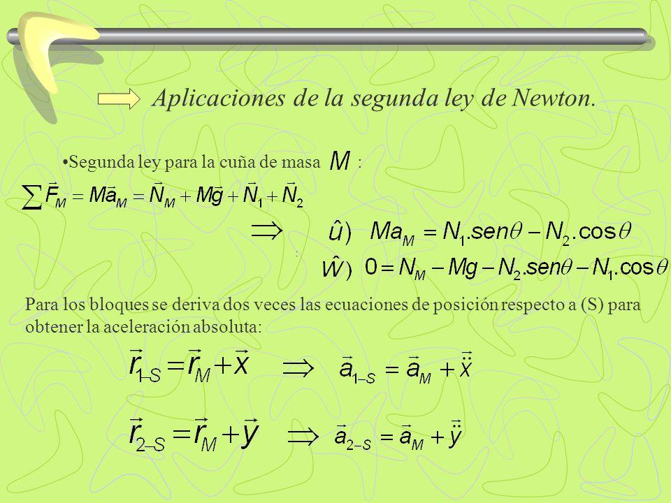 Aplicaciones de la segunda ley de Newton. : Segunda ley para la cuña de masa : : Para los bloques se deriva dos veces las ecuaciones de posición respe