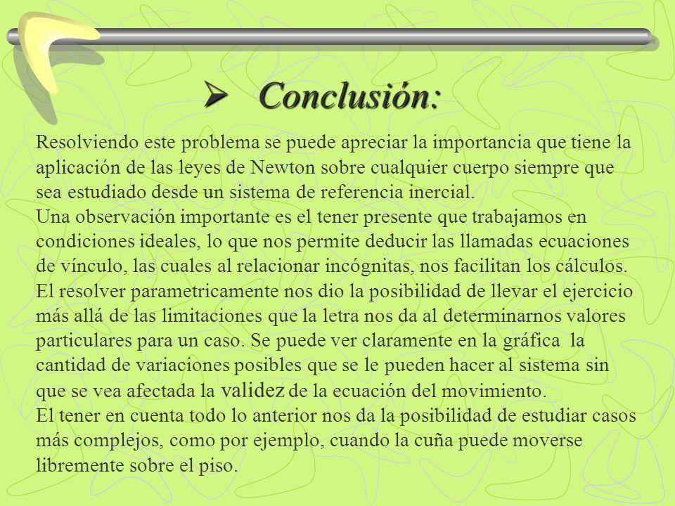 Conclusión: Conclusión: Resolviendo este problema se puede apreciar la importancia que tiene la aplicación de las leyes de Newton sobre cualquier cuer