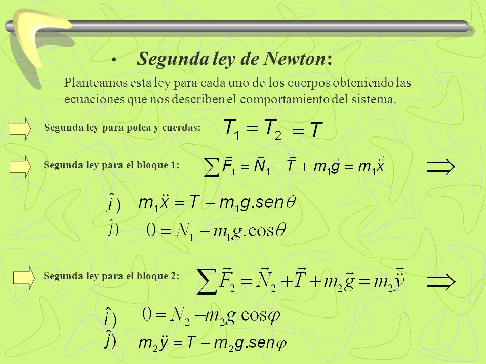 Segunda ley de Newton:. Segunda ley para el bloque 1: Segunda ley para el bloque 2: Planteamos esta ley para cada uno de los cuerpos obteniendo las ec