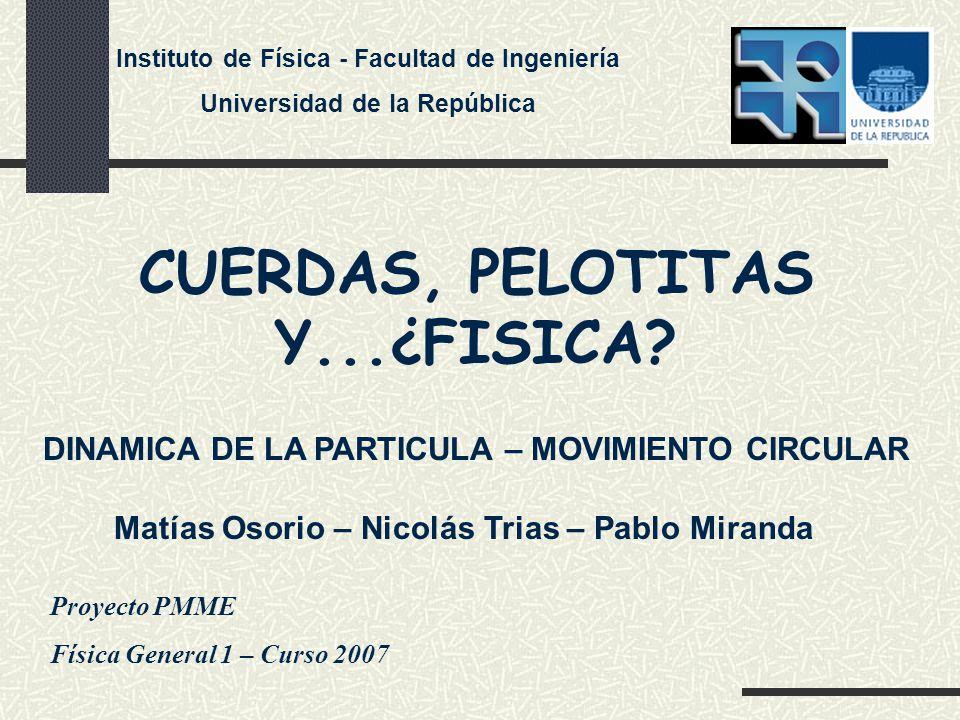 Proyecto PMME Física General 1 – Curso 2007 CUERDAS, PELOTITAS Y...¿FISICA.