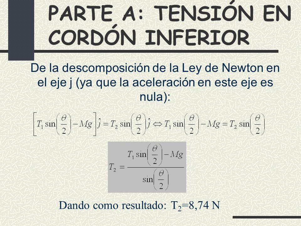 PARTE A: TENSIÓN EN CORDÓN INFERIOR Dando como resultado: T 2 =8,74 N De la descomposición de la Ley de Newton en el eje j (ya que la aceleración en este eje es nula):
