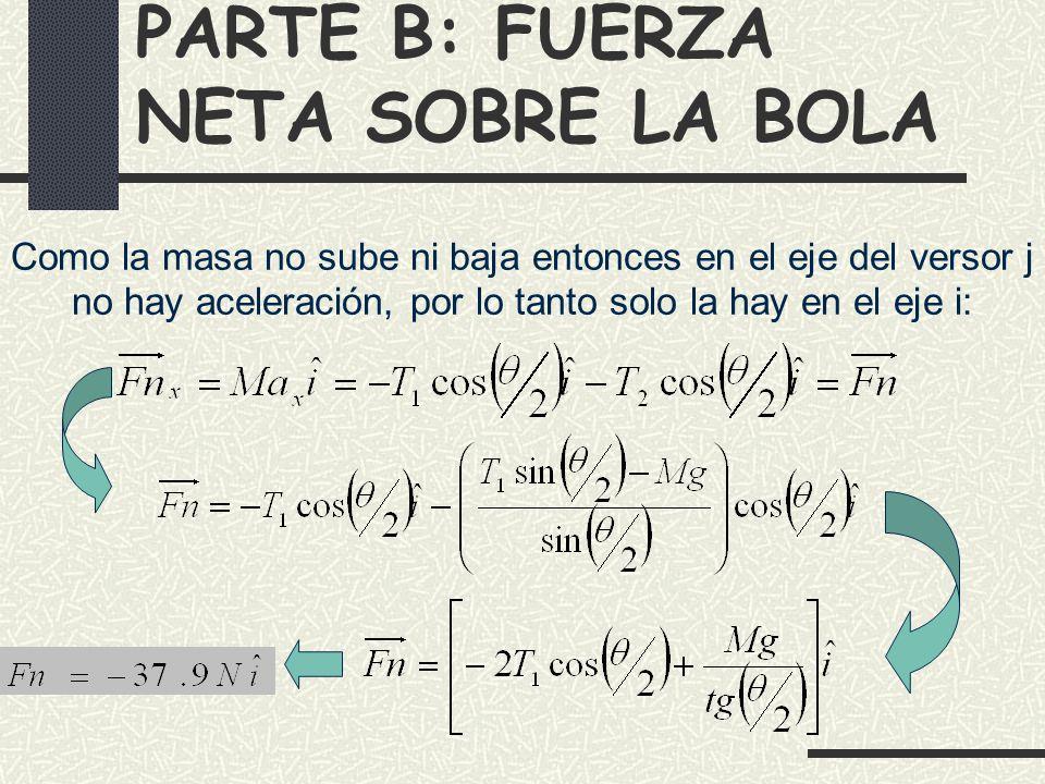 PARTE B: FUERZA NETA SOBRE LA BOLA Como la masa no sube ni baja entonces en el eje del versor j no hay aceleración, por lo tanto solo la hay en el eje i: