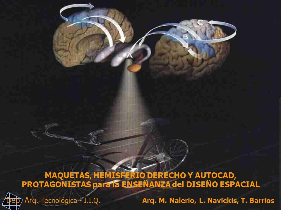 MAQUETAS, HEMISFERIO DERECHO Y AUTOCAD, PROTAGONISTAS para la ENSEÑANZA del DISEÑO ESPACIAL Dep. Arq. Tecnológica - I.I.Q. Arq. M. Nalerio, L. Navicki