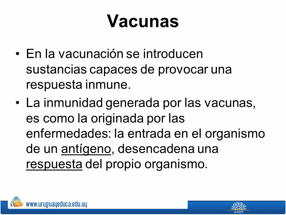 Vacunas En la vacunación se introducen sustancias capaces de provocar una respuesta inmune. La inmunidad generada por las vacunas, es como la originad
